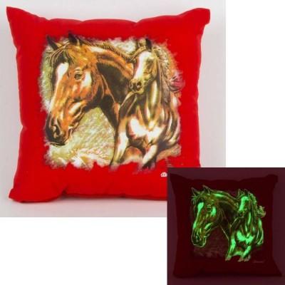 Svítící polštářek červený Koně