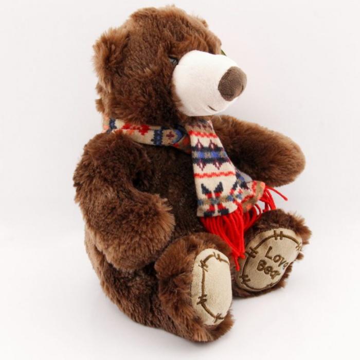 Plyšák Medvídek hnědý se šálou 30cm