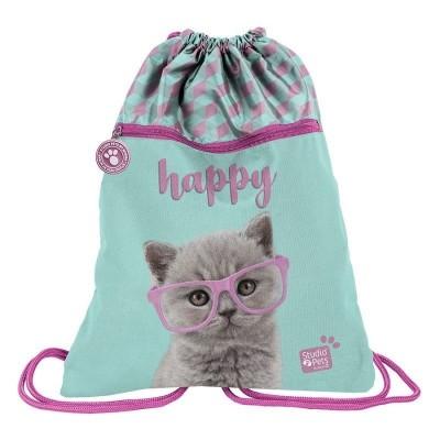 Batoh pytel vak s přední kapsou Kočka Happy