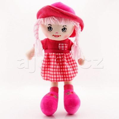 Textilní panenka s kloboukem 47cm tmavě růžová