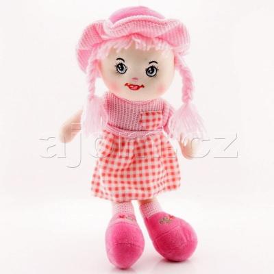 Textilní panenka s kloboukem 47cm světle růžová