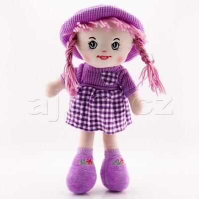 Textilní panenka s kloboukem 47cm fialová