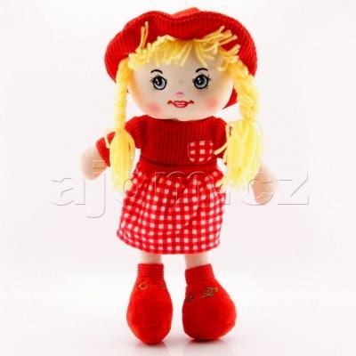 Textilní panenka s kloboukem 47cm červená