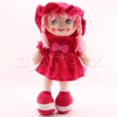 Textilní česky zpívající panenka 35cm tmavě růžová