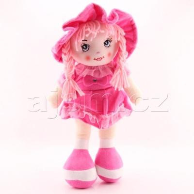 Textilní česky zpívající panenka 35cm světle růžová