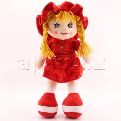 Textilní česky zpívající panenka 35cm červená