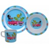Dětské nádobí Krteček a autíčko - talíř, miska a hrnek