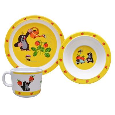 Dětské nádobí Krteček a jahody - talíř, miska a hrnek