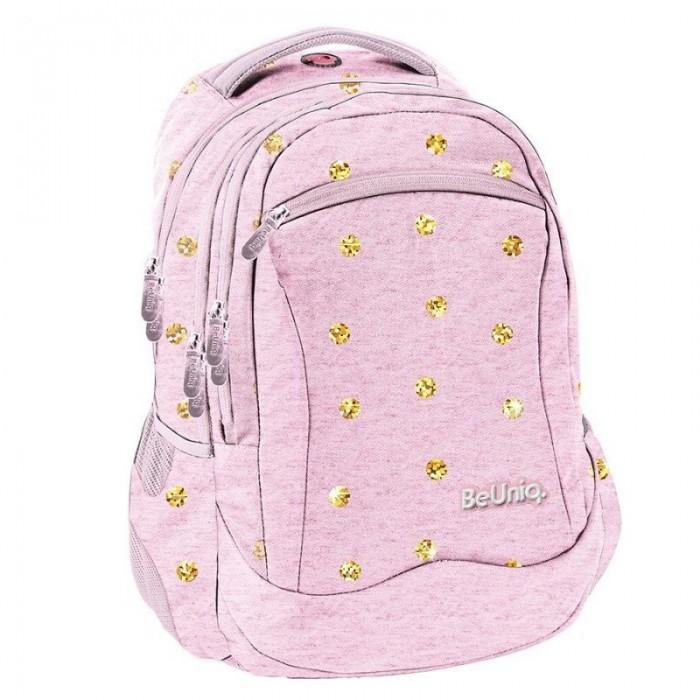 Školní batoh tříkomorový růžový Gold Dots
