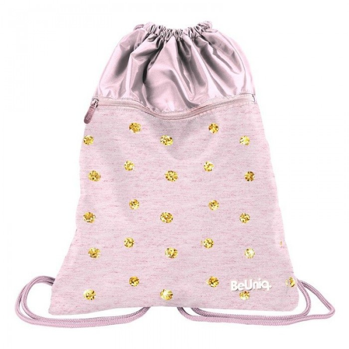Batoh pytel vak s přední kapsou růžový Gold Dots