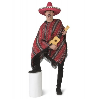 Pánský kostým Mexické pončo červené