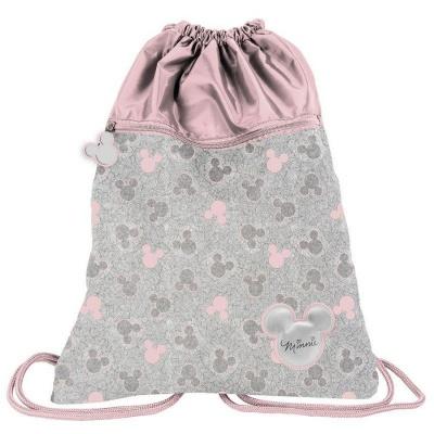 Batoh pytel vak s přední kapsou Minnie růžovo šedý