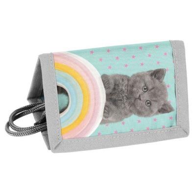 Textilní peněženka Kočka s duhou