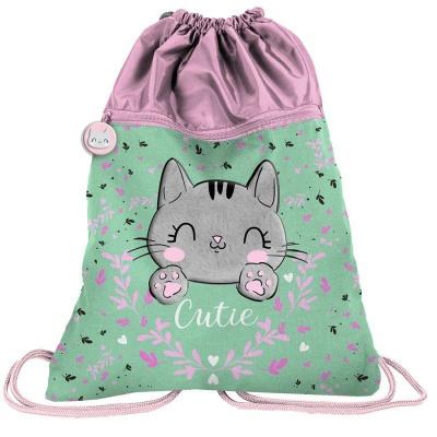 Batoh pytel vak s přední kapsou Kočka Cutie