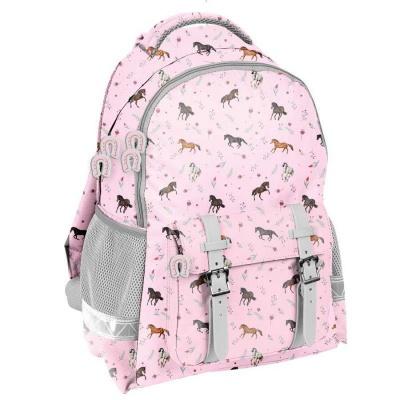 Školní batoh růžový s přezkami Koně