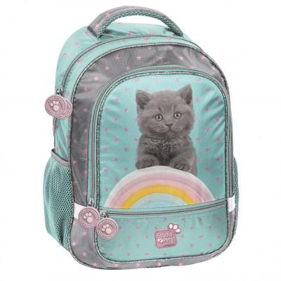 Školní batoh brašna Kočka s duhou