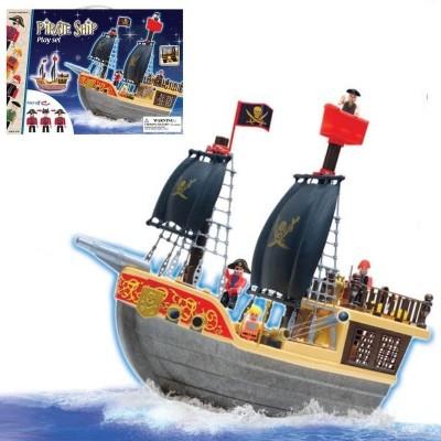 Velká pirátská sada loď s piráty a kanónem