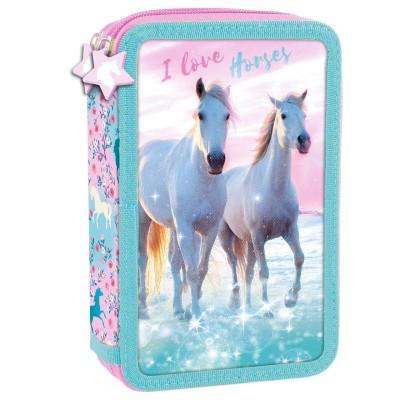 Školní dvoupatrový penál pouzdro Koně