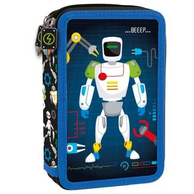 Školní dvoupatrový penál pouzdro Robot