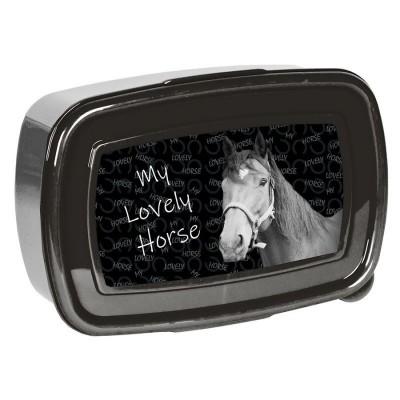 Svačinový box krabička na oběd Kůň černý