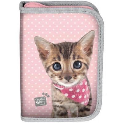 Školní pouzdro penál Kočka růžová - s chlopněmi