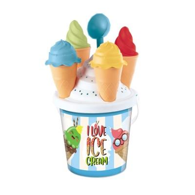 Sada na písek modrý kýblík a zmrzlina