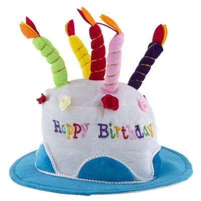 Narozeninový klobouk dort - modrý