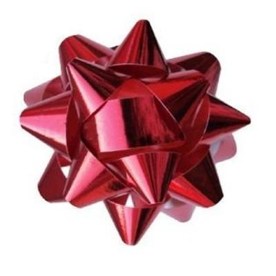Metalická mašle rozeta 8cm červená