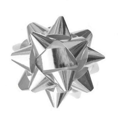 Metalická mašle rozeta 8cm stříbrná