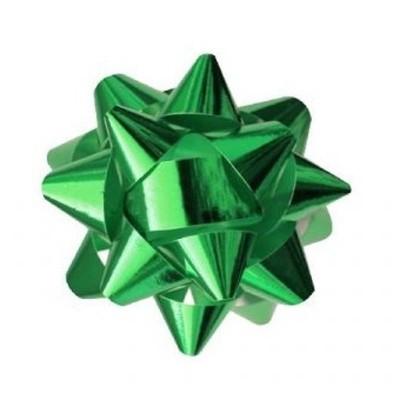 Metalická mašle rozeta 8cm zelená