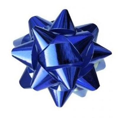 Metalická mašle rozeta 8cm modrá