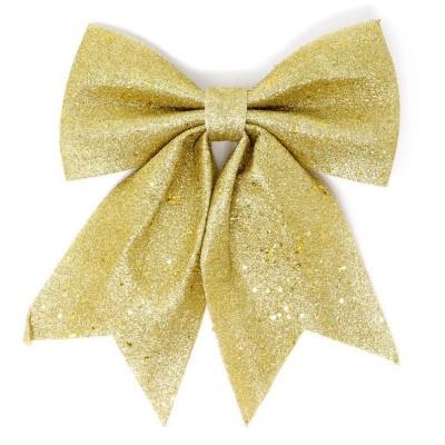 Vánoční ozdoba mašle zlatá 25 cm