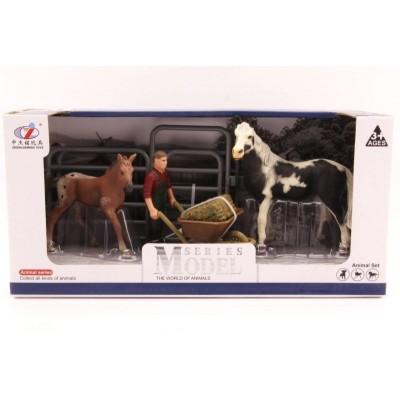 Sada kůň, hříbě a farmář - s doplňky