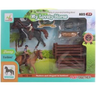 Sada Koně s jezdci a doplňky