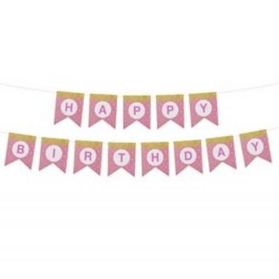 Narozeninová girlanda Happy Birthday 3m růžová