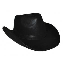Kovbojský klobouk kožený vzhled - černý