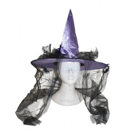 Klobouk čarodějnice fialový se závojem