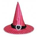 Klobouk čarodějnice růžový s puntíky
