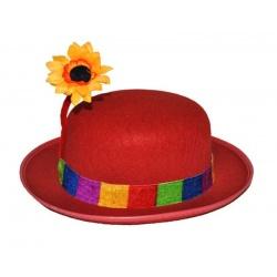 Klaunský klobouk buřinka s květinou