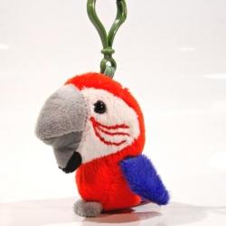 Plyšový přívěšek - klíčenka Papoušek červený