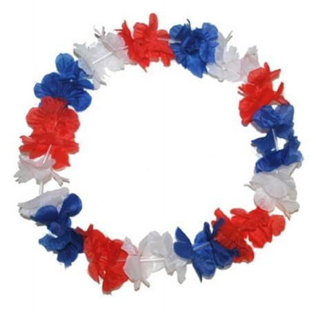 Květinový věnec - bílá modrá červená