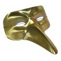 Škraboška maska benátská dlouhý nos - zlatá