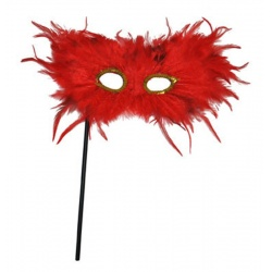 Škraboška maska z peří červená