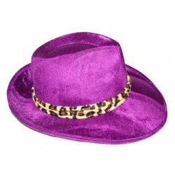 Klobouk fialový s leopardím vzorem