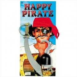 Sada pirát - meč, šátek, náušnice, hák a páska na oko