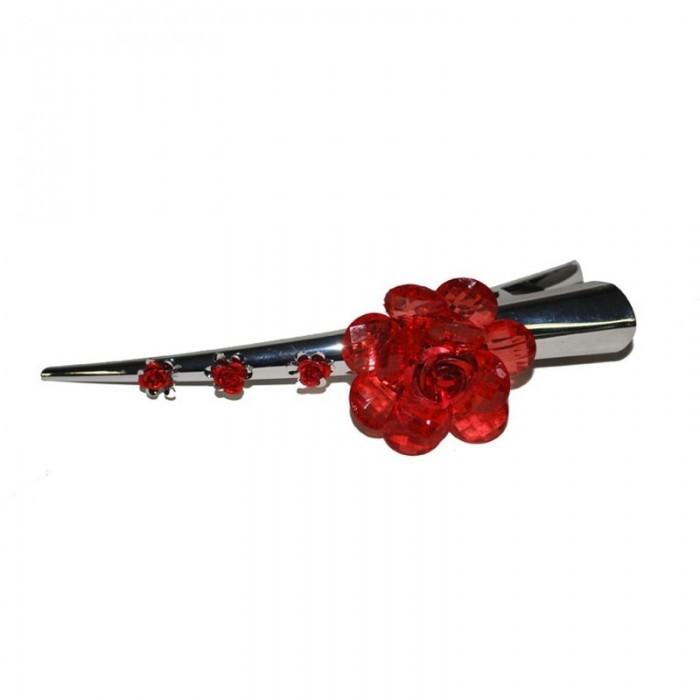 Spona červený květ - 13cm