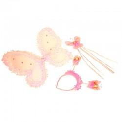 Sada růžový motýlek - křídla, čelenka a hůlka