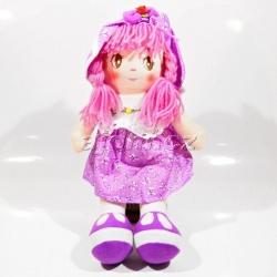 Hadrová panenka s kloboukem - fialová