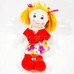 Textilní panenka s vestičkou - červená