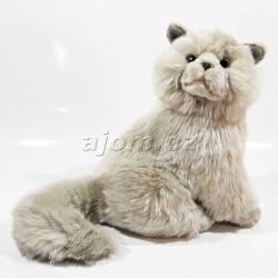 Plyšová kočka - šedá